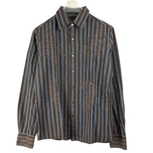 191 Unlimited Striped Embroidered Dress Shirt S